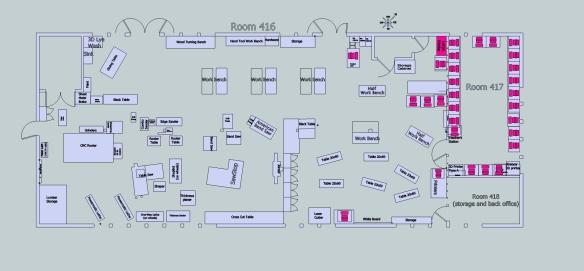 Sketchup Drawing of Woodshop Plan Dec 7 2014